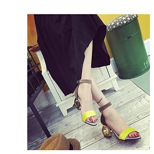 NVSLX dames sandalen sandalen paard haar vreemde stijl gesp hoge hak sandalen open teen sandalen vrouw schoenen
