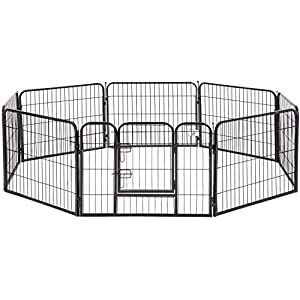 Pet Playpen Exercise Pen Dog fence Animal Kennel Cage Yard Travel Camping Wire Metal Portable Folding Indoor Outdoor Crate for Dogs with Door 24inches 8 panels and 16 panels (6424 inches, Black)