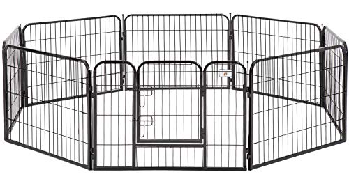 BestPet Dog Pen Extra Large Indoor Outdoor Dog Fence Playpen Heavy Duty 8 Panels 24 Inches Exercise Pen Dog Crate Cage Kennel Black