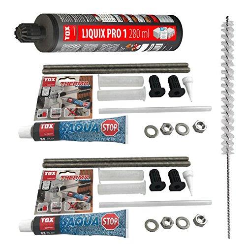 TOX Schwerlast Befestigungsset Abstandsmontagesystem fur Beton Thermo Proof Plus 4 x M12 A4 mit mit Aqua-Stop + Verbundmörtel Liquix Pro 1 + Zylinderbürste
