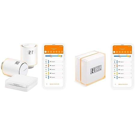 Netatmo Starter Pack Valvole Termostatiche Wifi Intelligenti, Kit di Base per Riscaldamento Centralizzato, NVP-IT, 5 - 30 Gradi Celsius & NTH01-IT-EC Termostato Wifi Intelligente