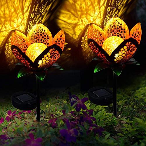 ALLOMN Solarleuchten Garten im Freien, 2 Stck Draussen Weg Dekorative Lampe Leuchtet Solar Landschaft Lichter IP65 Wasserdicht Pfad Rasen Hof Garten Lampen Hübsche Blumenmuster (Hohle Blumen, 2 PCS)