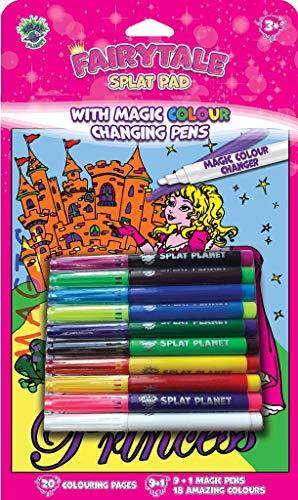 Splat Planet Libro de colorear mágico, con 9 rotuladores mágicos que cambian de color, incluye 1 rotulador mágico