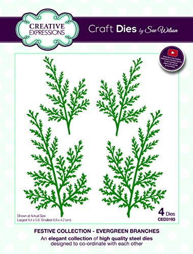 Creative Expressions Sue Wilson Festive Collection Evergreen Branches Craft Die, Metal, Largest 9.4 x 5.6 cm