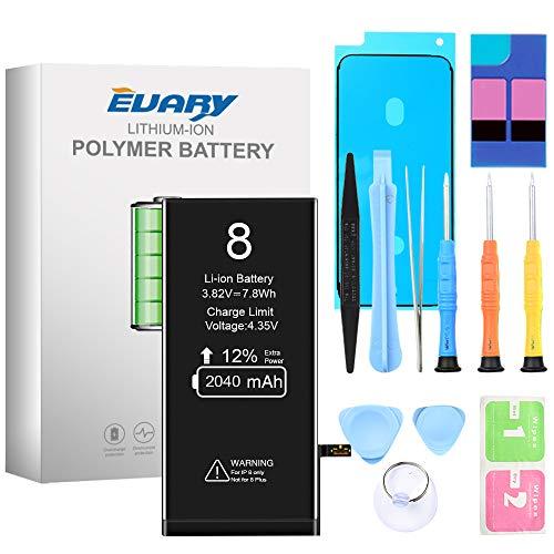 EVARY Akku für iPhone 8 2040mAh, Ersatzakku mit hoher Kapazität, mit Werkzeugset und Reparaturset Akku-Austausch Anleitung, Kompatibel mit Apple 8, 24 Monate Gewährleistung
