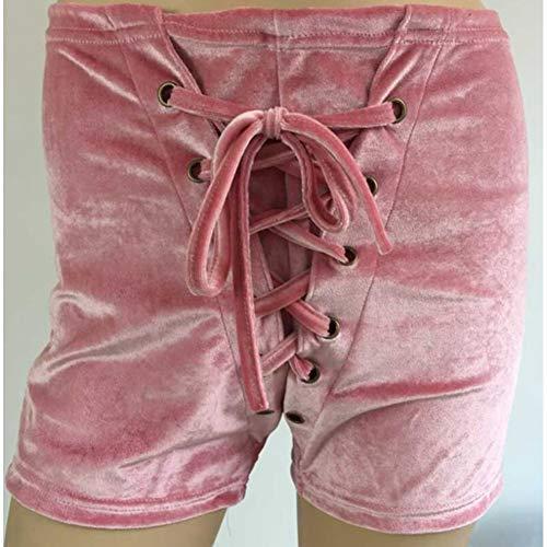 DBLSHA Samt Shorts Frauen Casual Kordelzug Mitte Taille Schnür-Shorts Skinny Booty Shorts Mode Velour Shorts Feminino