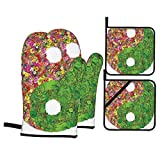 Ying Yang Decor Collection Flowers and Leaves Decorations Asian Zen Ying Yang Symbol Floral Style...