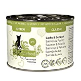 catz finefood Kitten N° 5 Lachs und Geflügel Katzenfutter nass - Feinkost Kitten Nassfutter für junge Katzen ohne Getreide und Zucker mit hohem Fleischanteil, 1.2 kg