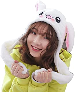 Debbieicy Lovely Costume Props Plush Bunny Hat Cute Animal with Movable Ears-Ideal Gift for Party and Celebrations (White Rabbit)