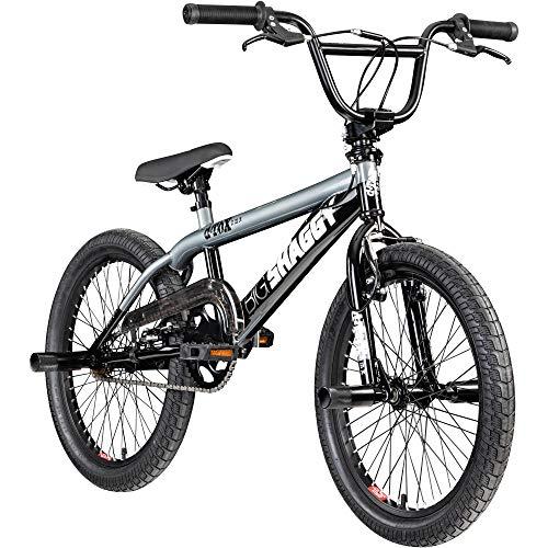 deTOX BMX 20 Zoll Fahrrad Big Shaggy Spoked 8 Farben zur Auswahl + 4 Pegs inkl.! (schwarz/grau)