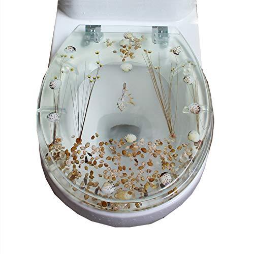 Asiento de inodoro transparente, cubierta de asiento de inodoro de resina con flor seca, tapa de inodoro doméstico con bisagra de metal, fácil de limpiar