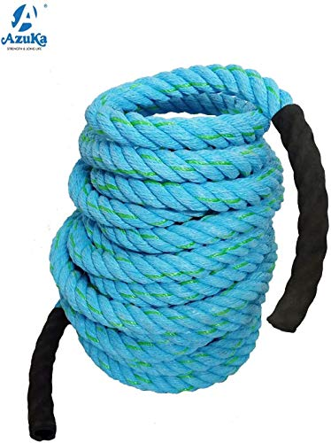 AZUKA® Ultimate Fitness Strength Training Battle Rope 1.5 inch 50ft (Ocean Blue)