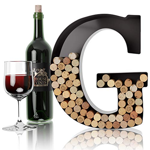 Wine Letter Cork Holder Art Wall Décor ~ Metal Letter Wine Cork Holder Monogram ~ Individual Wine Letter Cork Holders A Thru Z ~ Gifts for Wine Lovers ~ by HouseVines (G)
