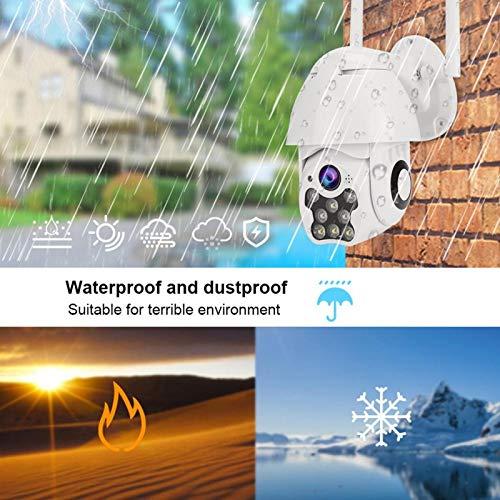 【Regalo de Abril】 Cámara Resistente al Agua, cámara PTZ de detección 1080P, Sistema de Tres Modos nocturnos 8LED Altavoz Alarma(European regulations)