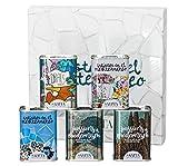 Cesta de Regalo Gourmet de Aceite de Oliva Virgen Extra Arbequina - 5 Latas 100ml - Colección Artistas Mediterráneo - Diseño Premiado 2017 - Producto de España - Estuche Trencadís - AOVE - Sahita