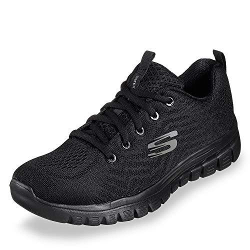 Skechers 12615 BBK Graceful - Get Connected Damen Sneaker aus Mesh Textilfutter, Groesse 42, schwarz