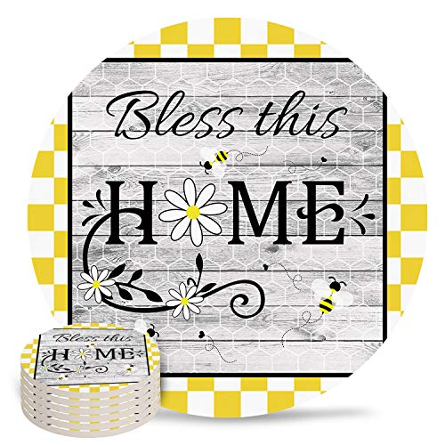 4' Ceramic Drink Coasters Set of 6 Absorbent Coaster with Cork Base Cups Mug Place Mats for Kitchen Bar Home Decor, Bee Daisy Honeycomb Yellow Plaid Retro Wood Grain Bless This Home