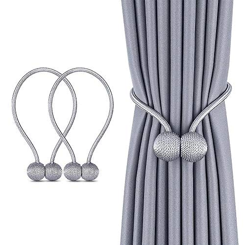 Magnetic Curtain Tiebacks, Decorative Curtain Holdbacks Rope Holdbacks Convenient Drape Tie Backs for Thick Sheer Curtains Light Weight Drapes Outdoor and Indoor Curtains, Grey