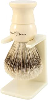 Edwin Jagger Super Badger Brush Imitation Ivory Medium + Drip Stand