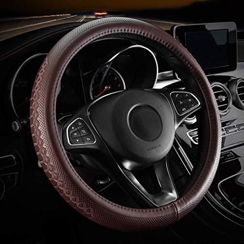 SXYULQQZ.UK Auto Lederen Stuurwiel Cover Hele Koeienhuid Materiaal Vier Seizoenen Universele Anti-slip Wear Voel Zeer Goed (Kleur : Wijn Rood)