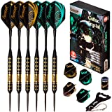 IgnatGames Steel Tip Darts Set - Professional Darts with Aluminum Shafts, Rubber O'Rings, and Extra Flights + Dart...