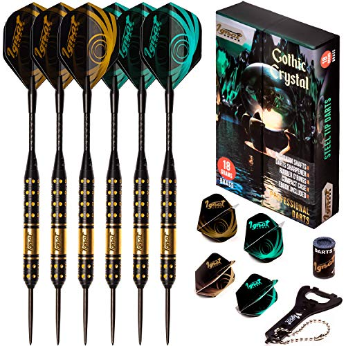 IgnatGames Steel Tip Darts Set - Professional Darts with Aluminum Shafts, Rubber O'Rings, and Extra Flights + Dart Sharpener + Innovative Case + Darts Guide (18g Gothic Crystal)