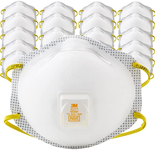 3M Particulate Respirator 8211, N95, Pack of 20, Cool Flow Exhalation Valve, Microfiber Filter Media, Cup Shape, Long Periods of Wear, Dusting, Sanding, Sweeping, Sawing