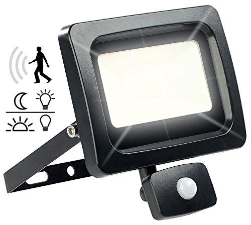 Projecteur étanche à LED 30 W / 2400 lm / blanc chaud avec capteur [Luminea]
