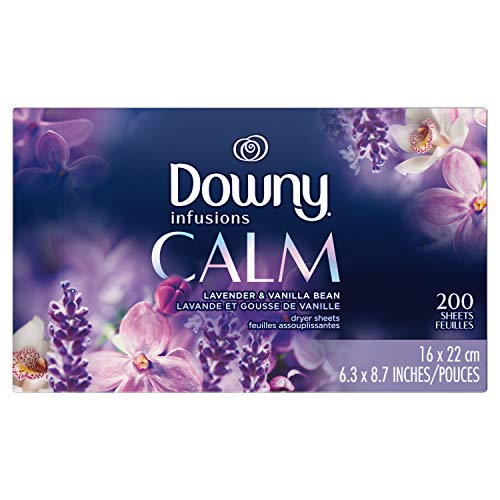 Downy Infusions Dryer Sheets Laundry Fabric Softener, Calm Scent, Lavender & Vanilla Bean, 200 Count