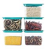 JJINPIXIU Juego de 5 recipientes de plástico herméticos para almacenar alimentos con tapas duraderas, loncheras para preparación de comidas, sin BPA, aptas para microondas y congelador, para organizar