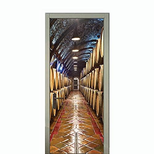 ASLKK Pegatinas De Puerta De Habitación para Niños Bodega De Vino Vintage Barril De Madera Pegatinas De Pared De Vino Tinto Pegatinas De Puerta Decoración del Hogar Murales De Pared (95x215cm)
