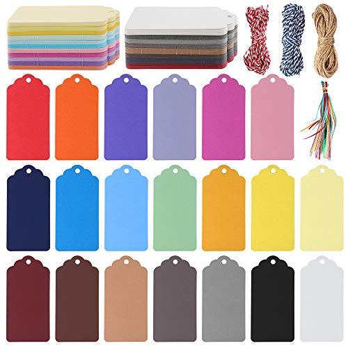 240 Piezas Etiquetas de Regalo de Papel Kraft Traje, con Agujeros que Cuelgan Etiquetas Cinturón decorativo para Tarjetas de Regalo, Etiquetas de Equipaje,Bodas, Cumpleaños (20 colores)