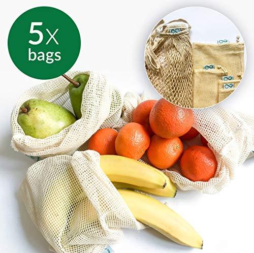 Sacs de produits réutilisables, sac en maille de coton naturel sans déchets plastiques, biodégradables, respectueux de l'environnement et lavables pour les fruits et légumes
