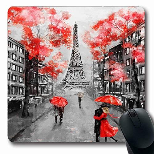 Tappetini per computer Street Rosso Nero Parigi Città europea Acquerello Astratto Pastello Schizzo Arco Design Turismo Forma oblunga 7,9 x 9,5 pollici Tappetino per mouse da gioco oblungo antiscivolo