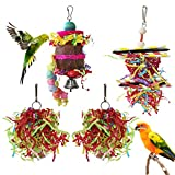 YUEPET 4 Pack Bird Shredder Toys Small Parrot Chewing Toys Parrot Cage Foraging Hanging Toy for Small Bird Parakeets Parrotlets Lovebirds Cockatiels