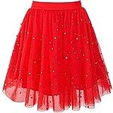 Sunny Fashion Ragazze Gonna Rosso Perla Stelle Scintillante Tutu Danza 9-10 Anni