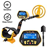 RM RICOMAX Metal Detector for Adults & Kids - High-Accuracy Waterproof Metal Detector w/LCD Display Control Box [P/P Function & DISC Mode & Distinctive Audio Prompt] 10 Inch Search Coil, Yellow