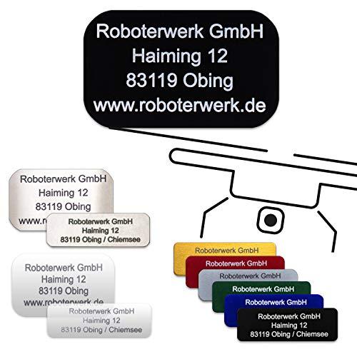 Roboterwerk drone-kenteken - geanodiseerd aluminium, titanium, high-tech glas - nauwkeurige laseropschrift incl. nuttige pilotenkaart (plaatketting voor adresmarkering) Groß aluminium, zwart