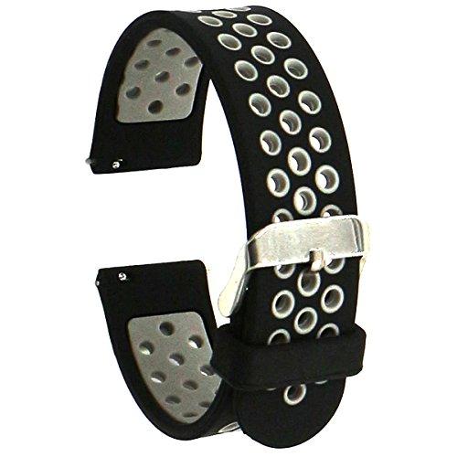 El-move Coque en silicone montre Sangles pour Gear S3 Frontier Classic Strap, Pebble Time, 18 mm, 20 mm, 22 mm, 24 mm Accessoires (Black Grey 22MM)