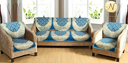 Nendle Luxurious Cotton Abstract Design 5 Seater Sofa Cover Set (Sky Blue, 6 Pieces)