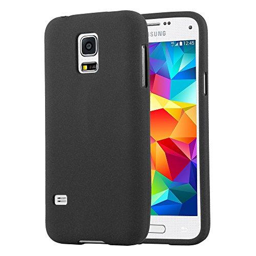 Cadorabo Hülle für Samsung Galaxy S5 Mini / S5 Mini DUOS in Frost SCHWARZ - Handyhülle aus flexiblem TPU Silikon - Silikonhülle Schutzhülle Ultra Slim Soft Back Cover Case Bumper