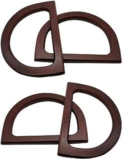 Loghot 4Pcs D Shape Wooden Handles Replacement for Handmade Purse Beach Bag Handbags Straw Bag Handles (Dark Brown)