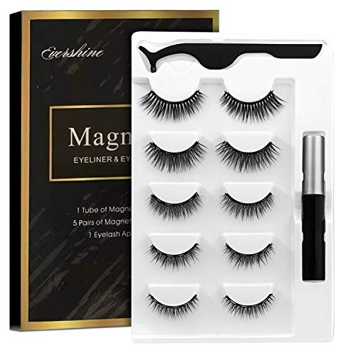 Magnetic Eyelashes, Magnetic lashes, Magnetic Eyelash kit, Magnetic Eyeliner with Magnetic False Lashes Natural Look-No Glue Needed (5-Pairs)