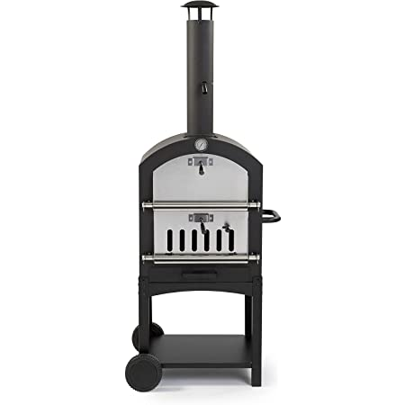 """Harbor Gardens KUK002B Monterey Pizza Oven with Stone, Stainless/Enamel Coated Steel,51.25"""" H X 23.5"""" W X 16.5"""" D,Black"""