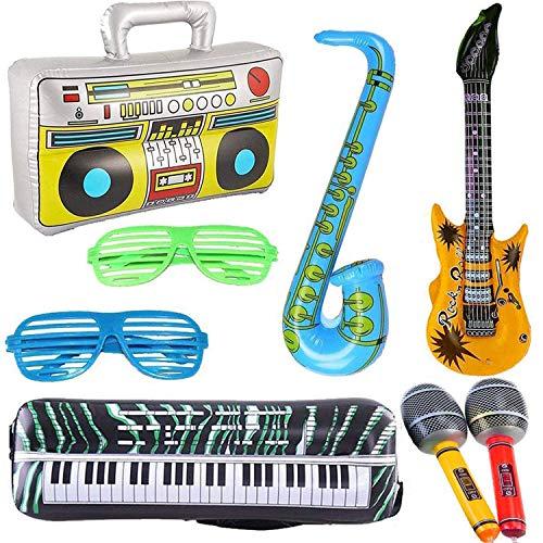 8 STÜCKE Aufblasbare Gitarre Saxophon Mikrofon Boombox Tastatur Ballons Musikinstrumente Zubehör Luminous Glow Gläser in Schwarz Für Party Supplies Party Favors Bälle Farbe Alé