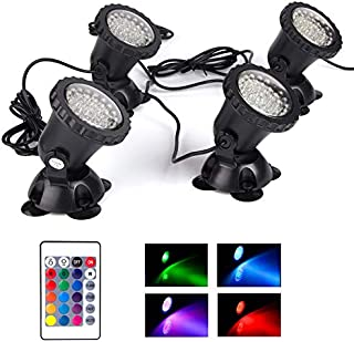Pond Lights Waterproof IP68 Multi-Color Dimmable Submersible Fountain Light Underwater 36 LED Landscape Spotlight, Remote Control Memory for Pond Aquarium Garden Yard Lawn Pathway, Set of 4