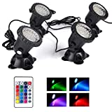 Pond Lights Waterproof 36 LED Underwater Submersible Fountain Light IP68 Landscape Spotlight, Remote Control Multi-Color Dimmable Memory for Pond Garden Yard Lawn Pathway, Set of 4