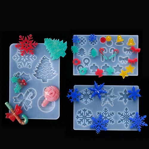 Maxure Stampo in resina siliconica 3D per albero di Natale fai da te con forma di fiocco di neve/albero di Natale/canna/caramelle/stelle, cartello natalizio da appendere, decorazione per interni