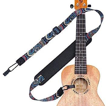 Ukulele Strap No Drill IHOBOR Adjustable Double J Hook Ukelele Shoulder Strap Hawaiian Premium Woven Clip on Ukulele Strap Easy to Use and Fit Most Standard Uke Sizes