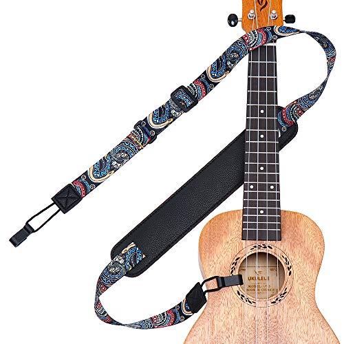 Ukulele Strap No Drill, IHOBOR Adjustable Double J Hook Ukelele Shoulder Strap, Hawaiian Premium Woven Clip on Ukulele Strap, Easy to Use and Fit Most Standard Uke Sizes